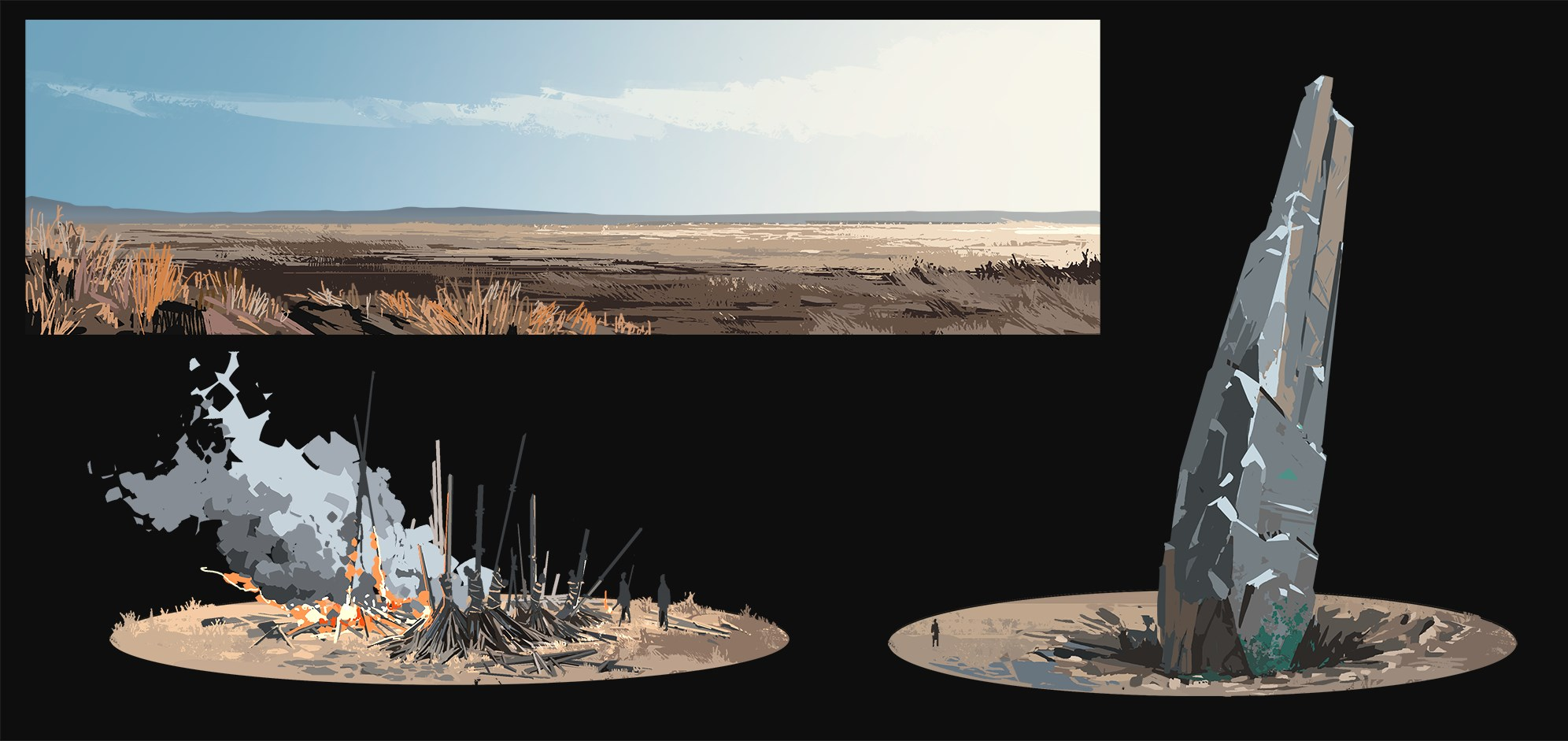 Ash of Gods intro landscape concept
